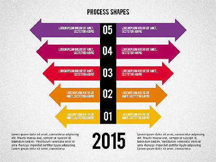 Striped Arrows, Slide 5, 02096, Process Diagrams — PoweredTemplate.com