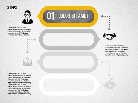 Process Diagrams: アイコンの4つのステップ #02109