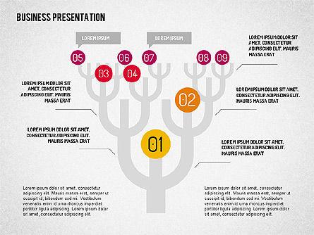 Business Presentation with Flat Shapes, 02111, Presentation Templates — PoweredTemplate.com