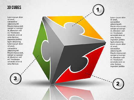 Puzzle Cube, Slide 4, 02124, Puzzle Diagrams — PoweredTemplate.com