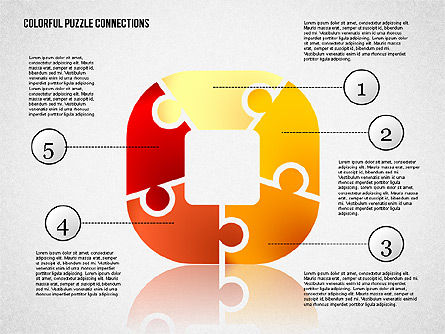 Colorful Puzzle Connections, Slide 3, 02139, Puzzle Diagrams — PoweredTemplate.com