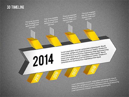 3D Chevron Timeline Diagram, Slide 11, 02142, Timelines & Calendars — PoweredTemplate.com