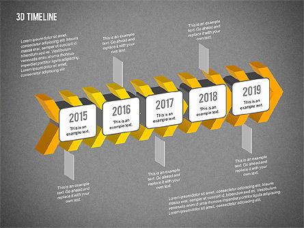 3D Chevron Timeline Diagram, Slide 12, 02142, Timelines & Calendars — PoweredTemplate.com