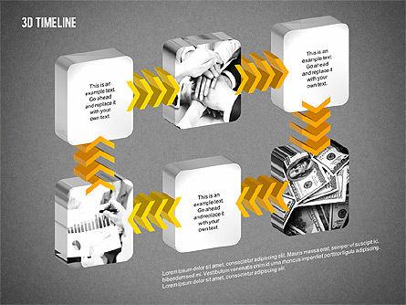 3D Chevron Timeline Diagram, Slide 16, 02142, Timelines & Calendars — PoweredTemplate.com