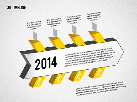 3D Chevron Timeline Diagram, Slide 3, 02142, Timelines & Calendars — PoweredTemplate.com