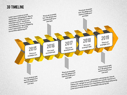 3D Chevron Timeline Diagram, Slide 4, 02142, Timelines & Calendars — PoweredTemplate.com