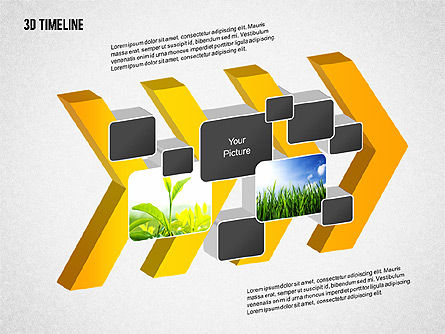 3D Chevron Timeline Diagram, Slide 6, 02142, Timelines & Calendars — PoweredTemplate.com