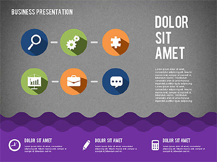 Presentation with Icons and Shapes in Flat Style, Slide 9, 02155, Presentation Templates — PoweredTemplate.com
