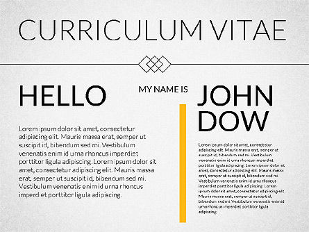 Elegant Curriculum Vitae Template , 02156, Presentation Templates — PoweredTemplate.com