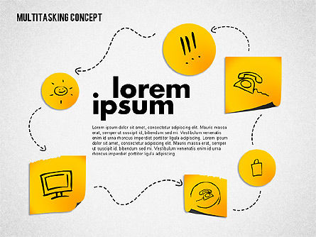 Multitasking Concept Presentation Template, Slide 2, 02187, Presentation Templates — PoweredTemplate.com