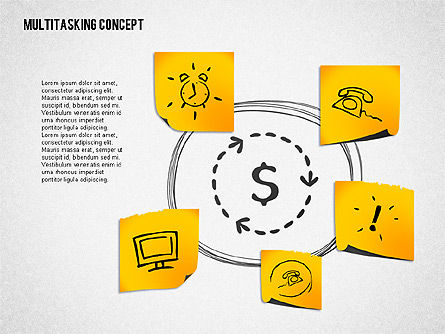 Multitasking Concept Presentation Template, Slide 4, 02187, Presentation Templates — PoweredTemplate.com