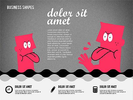 Funny Cartoon Heads, Slide 13, 02196, Shapes — PoweredTemplate.com