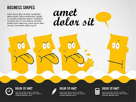 Funny Cartoon Heads, Slide 3, 02196, Shapes — PoweredTemplate.com