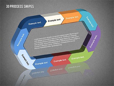 3D Process Shapes Collection, Slide 10, 02244, Process Diagrams — PoweredTemplate.com
