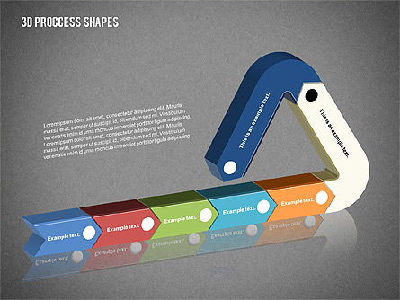 3D Process Shapes Collection, Slide 14, 02244, Process Diagrams — PoweredTemplate.com