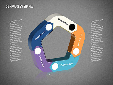 3D Process Shapes Collection, Slide 9, 02244, Process Diagrams — PoweredTemplate.com