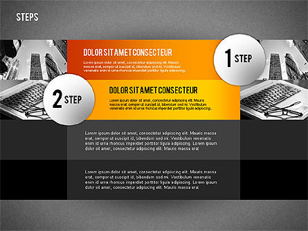 Steps with Photo Toolbox, Slide 10, 02251, Stage Diagrams — PoweredTemplate.com