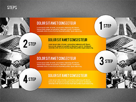 Steps with Photo Toolbox, Slide 12, 02251, Stage Diagrams — PoweredTemplate.com