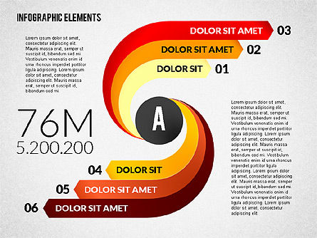 Round and Curved Infographic Elements, 02256, Infographics — PoweredTemplate.com
