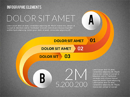 Round and Curved Infographic Elements, Slide 12, 02256, Infographics — PoweredTemplate.com