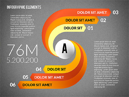 Round and Curved Infographic Elements, Slide 9, 02256, Infographics — PoweredTemplate.com