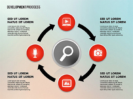 Media Sharing Process with Icons, Slide 10, 02260, Icons — PoweredTemplate.com