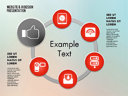 Media Sharing Process with Icons, Slide 12, 02260, Icons — PoweredTemplate.com