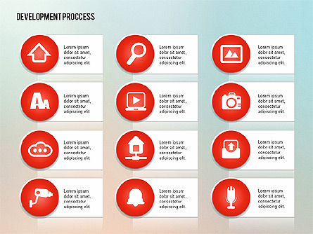 Media Sharing Process with Icons, Slide 16, 02260, Icons — PoweredTemplate.com