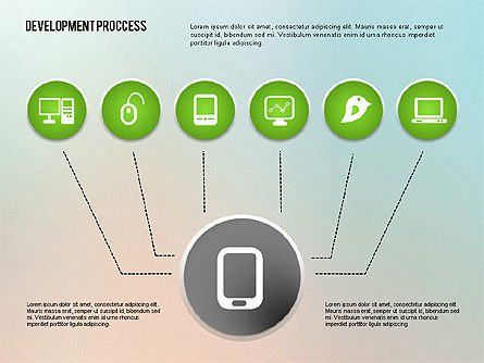 Media Sharing Process with Icons, Slide 8, 02260, Icons — PoweredTemplate.com