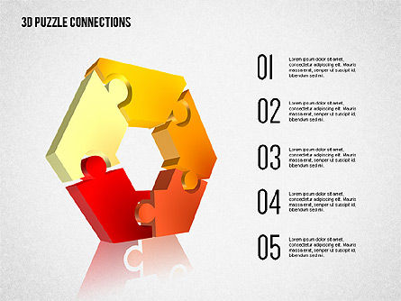 3D Puzzle Connections, Slide 3, 02262, Puzzle Diagrams — PoweredTemplate.com