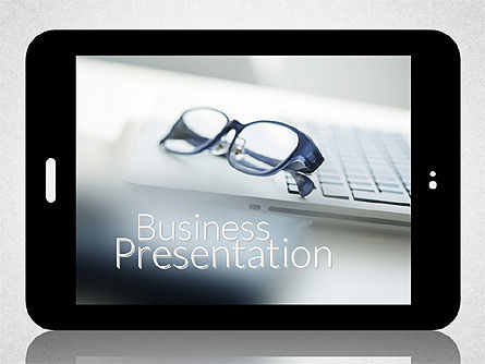 Business Presentation with Touch Pad (data driven), 02263, Presentation Templates — PoweredTemplate.com