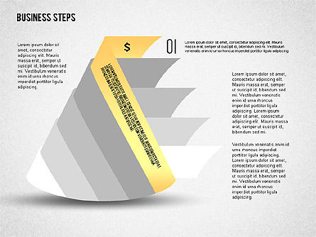 Geometric Shapes with Steps and Icons, 02264, Stage Diagrams — PoweredTemplate.com