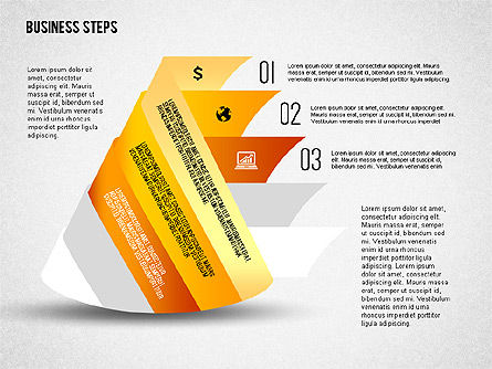 Geometric Shapes with Steps and Icons, Slide 3, 02264, Stage Diagrams — PoweredTemplate.com