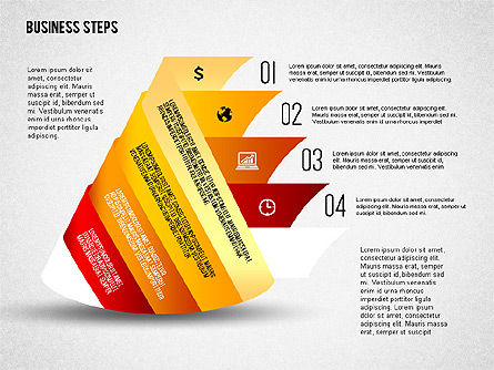 Geometric Shapes with Steps and Icons, Slide 4, 02264, Stage Diagrams — PoweredTemplate.com