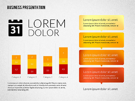 Business Presentations with Flat Shapes, 02275, Presentation Templates — PoweredTemplate.com