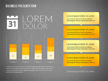 Business Presentations with Flat Shapes, Slide 9, 02275, Presentation Templates — PoweredTemplate.com