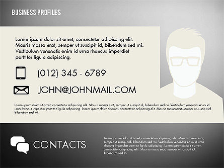 Business Profiles with Silhouettes, Slide 14, 02287, Presentation Templates — PoweredTemplate.com