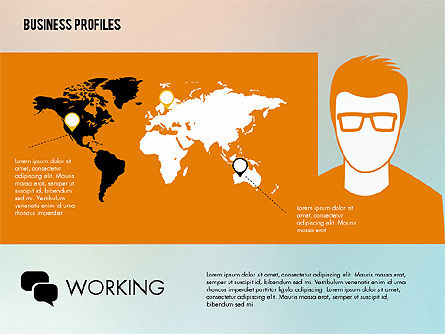 Business Profiles with Silhouettes, Slide 2, 02287, Presentation Templates — PoweredTemplate.com