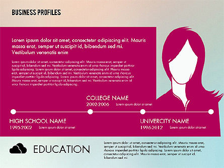 Business Profiles with Silhouettes, Slide 4, 02287, Presentation Templates — PoweredTemplate.com