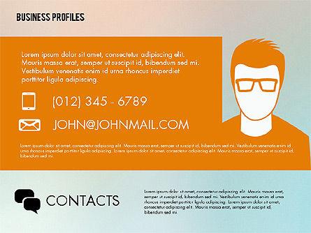 Business Profiles with Silhouettes, Slide 6, 02287, Presentation Templates — PoweredTemplate.com