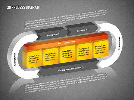 Process Diagram in 3D, Slide 10, 02302, Process Diagrams — PoweredTemplate.com