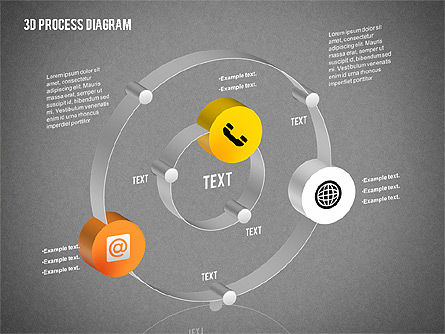 Process Diagram in 3D, Slide 15, 02302, Process Diagrams — PoweredTemplate.com