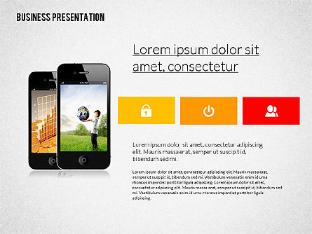 Modern Business Presentation in Flat Design, 02308, Presentation Templates — PoweredTemplate.com