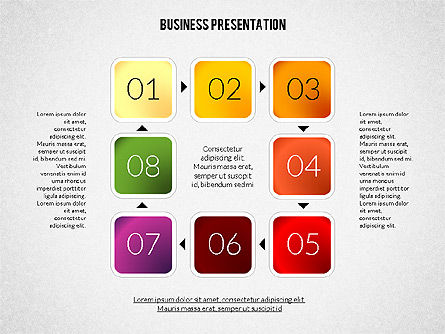 Presentation with Colorful Flat Shapes (data driven), Slide 4, 02319, Presentation Templates — PoweredTemplate.com