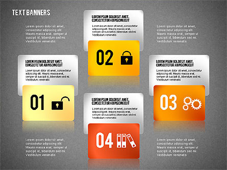 Colorful Text Banners with Icons, Slide 10, 02326, Text Boxes — PoweredTemplate.com