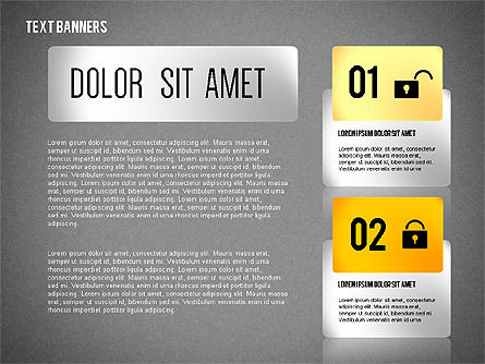 Colorful Text Banners with Icons, Slide 11, 02326, Text Boxes — PoweredTemplate.com