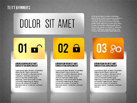 Colorful Text Banners with Icons, Slide 12, 02326, Text Boxes — PoweredTemplate.com