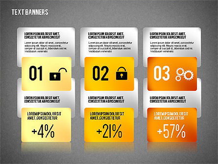 Colorful Text Banners with Icons, Slide 13, 02326, Text Boxes — PoweredTemplate.com