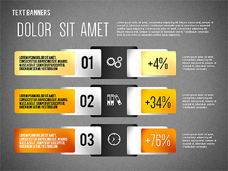 Colorful Text Banners with Icons, Slide 15, 02326, Text Boxes — PoweredTemplate.com