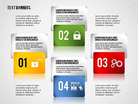 Colorful Text Banners with Icons, Slide 2, 02326, Text Boxes — PoweredTemplate.com